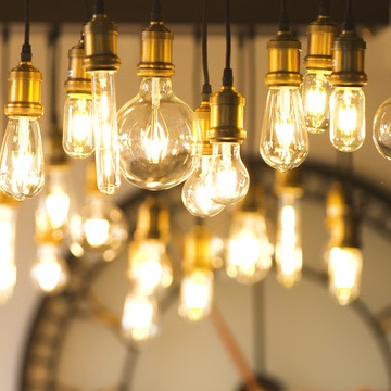 Our Time Cafe features stunning clocks and lights, some of
